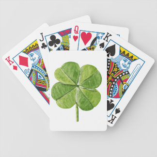 Green lucky shamrock clover Saint Patrick Day Bicycle Playing Cards