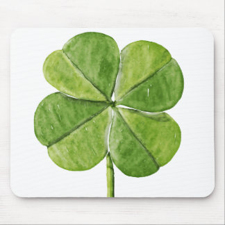 Green lucky shamrock clover Saint Patrick Day Mouse Pad