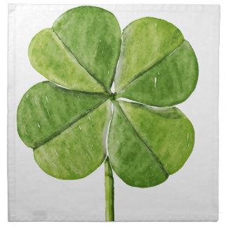 Green lucky shamrock clover Saint Patrick Day Napkin