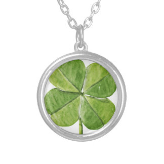 Green lucky shamrock clover Saint Patrick Day Silver Plated Necklace
