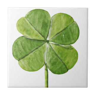 Green lucky shamrock clover Saint Patrick Day Tile