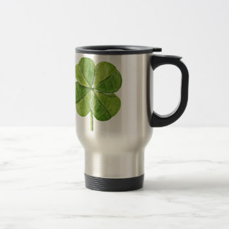 Green lucky shamrock clover Saint Patrick Day Travel Mug