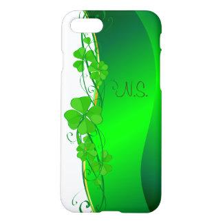Green Lucky Shamrock  faux glitter wave iPhone 7 Case