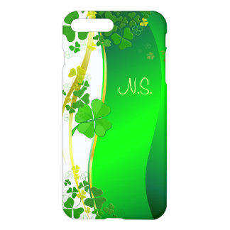 Green Lucky Shamrock  faux glitter wave iPhone 7 Plus Case