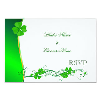 Green Lucky Shamrock Pattern RSVP cards 9 Cm X 13 Cm Invitation Card