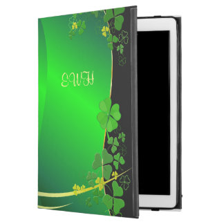 "Green Lucky Shamrock Your Monogram iPad Pro 12.9"" Case"