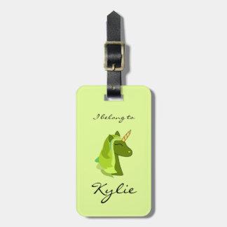Green lucky unicorn luggage tag