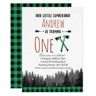 Green Lumberjack Birthday Woodland Invitation