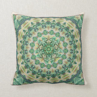 Green Luna Moth Mandala Accent Pillow 2