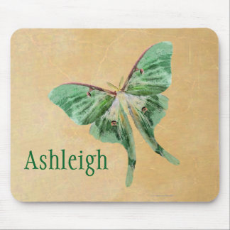 Green Luna Moth Monogram Mousepad