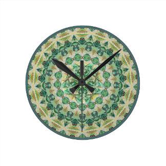 Green Luna Moth Round Mandala Wall Clock