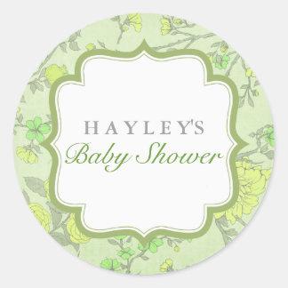 Green Lush Flower Baby Shower Sticker