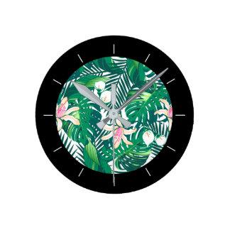 Green lush plants round clock