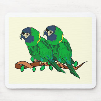 green macaw parrot love art mouse pad