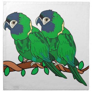 green macaw parrot love art napkin