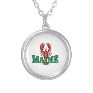 green Maine lobster Silver Plated Necklace