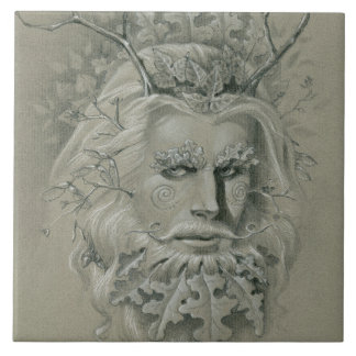 Green Man with Oak Leaf Beard Tile