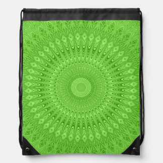 Green mandala drawstring bag