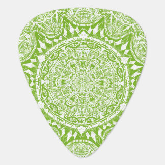 Green Mandala Pattern Guitar Pick