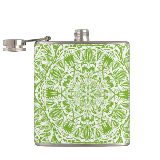 Green Mandala Pattern Hip Flask