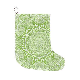 Green Mandala Pattern Large Christmas Stocking