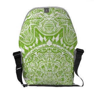 Green Mandala Pattern Messenger Bag