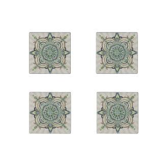 green mandala stone magnet
