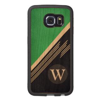 Green Manly Retro Abstract Stripes Custom Monogram Wood Phone Case