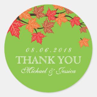 Green Maple Leaf Fall Autumn Wedding Sticker