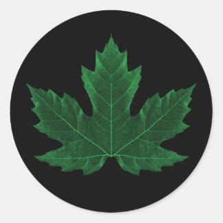 Green Maple Leaf Sticker