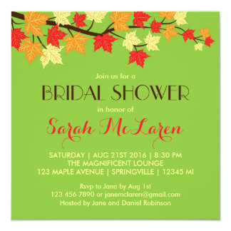 Green Maple Leaves Autumn Bridal Shower Invitation