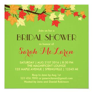 Green Maple Leaves Autumn Bridal Shower Invitation Personalized Invitations