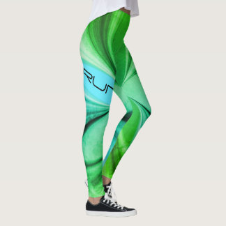 Green Marble Watercolor Jogging Running Design Leggings