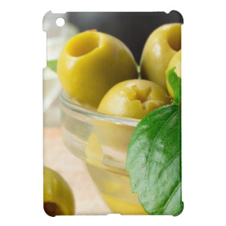 Green marinated olives pitted adorned with green case for the iPad mini
