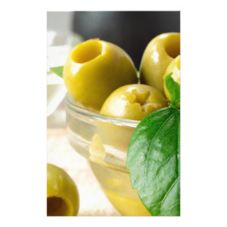 Green marinated olives pitted adorned with green stationery