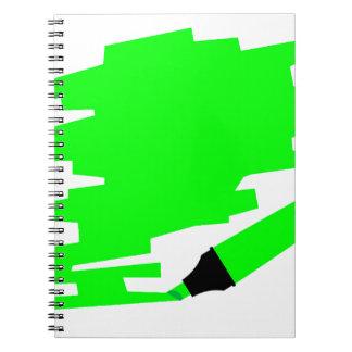 Green Marker Copy Space Spiral Notebook