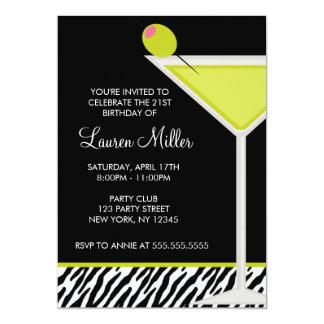 Green Martini and Zebra Pattern 13 Cm X 18 Cm Invitation Card