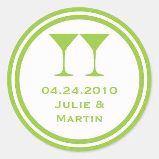 Green martini wedding favor tag seal label round sticker
