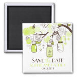 Green Mason Jars & Flowers Save the Date Magnet