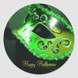 Green Masquerade Halloween Party Stickers
