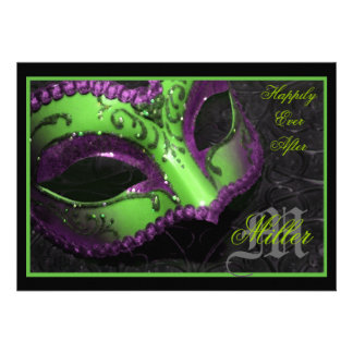 Green Masquerade Renaissance Wedding Invitation