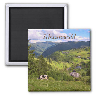 green Meadows and a cow with panorama view Magnet