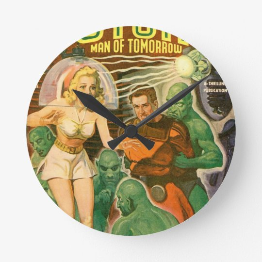 Green Meanies. Round Clock