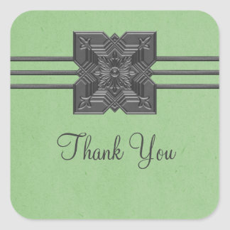 Green Medallion Border Thank You Stickers