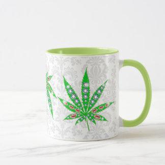 Green Medical Leaf With Bling & Sparkles Mug