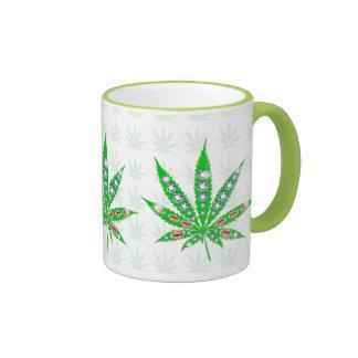 Green Medical Leaf With Bling & Sparkles Ringer Mug