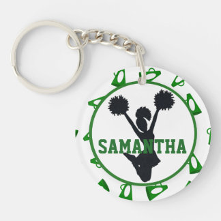 Green Megaphone and Cheerleader Personalized Photo Double-Sided Round Acrylic Key Ring