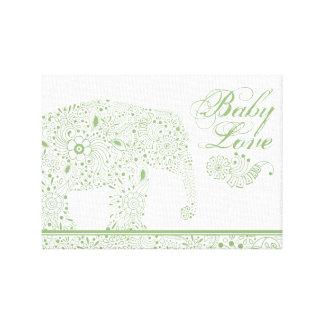 Green Mehndi  Baby  Elephant Canvas Print