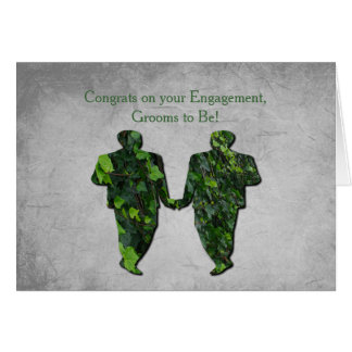 Green Men Ivy & Silver Gay Handfasting Blessings Card