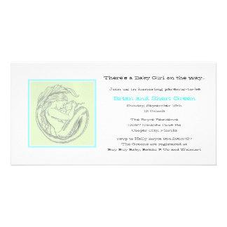 Green Mermaid BB Shower Invite Photo Greeting Card